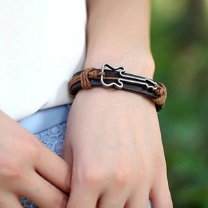 adjustable leather bracelet Guitar charm rock